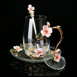 Enamel Flower Glass Cup Mug For Coffee Tea With Spoon Home Wedding Drinkware Set