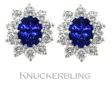 Blue Sapphire and F VS Diamond Cluster Earrings 3.00ct in 18ct Gold Pierced Ears