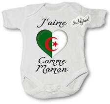 Body bébé personnalise J aime l' Algérie Comme Maman Manche Courte ou Longue