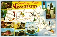 Vintage Postcard Greetings From Massachusetts MA State Map Road Attractions