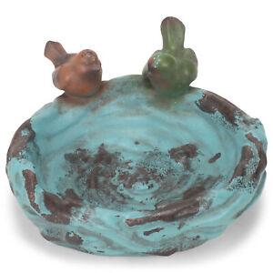Ocean Blue Teal Round Rustic Detailing 12 x 7 Resin Decorative Outdoor Birdbath