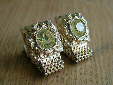 SMART VINTAGE GREEN CRYSTALS WRAP AROUND MESH  CUFFLINKS SIGNED SWANK