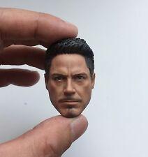 █ Custom Tony Stark 5.0 1/6 Neckless Head Sculpt for Hot Toys Muscular Body █