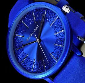 Excellanc Damen Armband Frauen Uhr - Blau Glitter Splitter