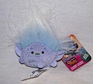 "Trolls Guy Diamond Plush Bean Bag 5"" Mini Lilac Blue Hair DreamWorks NEW Tag"
