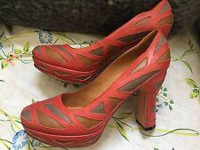 john fluevog leather heels red platform color blocks size 10M US