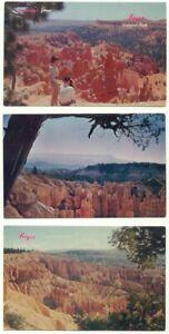 Bryce Canyon National Park Utah Lot of 3 vintage Postcards