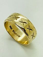 9ct Yellow Gold Patterned Wedding Band – 7.0mm