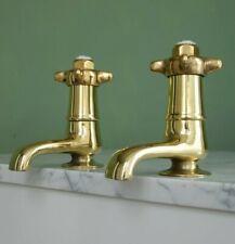 Vintage Sink Taps Brass Art Deco Fully Refurbished Antique Hardware Bathroom