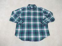 Brooks Brothers Shirt Adult Extra Large Green Blue Button Up Casual Mens B46