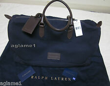 $595 rare Ralph Lauren navy Canvas Leather Weekend Duffle Luggage Travel Bag