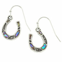 Lucky Horseshoe Earrings Paua Abalone Shell Silver Fashion Jewellery 17mm Drop