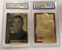 BEN ROETHLISBERGER STEELERS AUTOGRAPHED GEM-MT 10 23KT GOLD ROOKIE (2) CARD LOT!