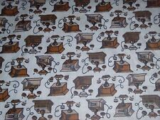"Vtg Mid Century Cotton Novelty Fabric Telephone Motif Brown 36"" x 1Yd"