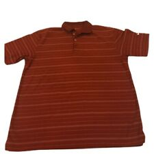 Nike Golf Fit Dry Short Sleeve Maroon / White Striped Polo Shirt Mens Sz Large