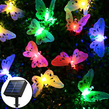 Solar Powered 12 LED String Fairy Lights Garden Outdoor Butterfly Party Xmas Aus