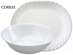 Corelle ENHANCEMENTS Choice of: 1-Qt SERVING BOWL or PLATTER White Swirl Rim