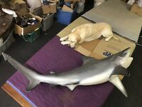 Vintage Shark Wall Mount — statue life size great white jaws fiberglass tiger