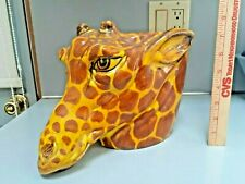 Vintage Planter Ceramic Giraffe Head Handmade italy Rare With Org Sticker A488