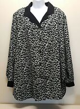 Erin London 2X Shirt Blouse Top Gray Leopard Button Front Long Sleeves Plus Size