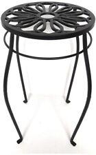 Plant Stand Vintage Metal Table Iron Pedestal Black Round Indoor Outdoor Decor