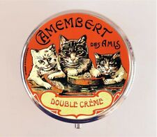 Creme Cat Pill Box Case Pillbox - Vintage French Advertising Ad Stash Box
