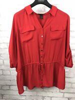Lane Bryant Red Button Up Drawstring Waist Safari Top Blouse Two Pocket 22/24