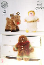 King Cole Chunky Xmas Toy Knitting pattern gingerbread man angel rudolph 9055