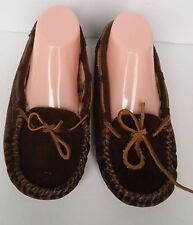 Minnetonka Size 8 Brown Suede Moccasins Cheetah Print Fur Lining Rubber Soles