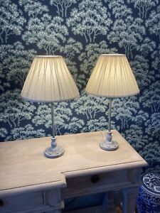 Pair Of Laura Ashley Candlestick Style Lamps Bases & Brand New Shades