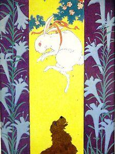 Elizabeth Cadie 1927 BUNNY RABBIT in TREE w CROW - DOG READY Art Print Matted