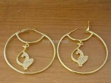 Baby Phat & Circle Gold Rhinestone Jumbo Hoop Pair Earrings