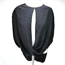 Boulee Suri Top Black Sheer Chiffon Silk Long Sleeve Size 0 Sexy Open MSRP $231