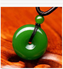 Natural Green Jade Doughnut Pendant Lucky Buckle Jadeite Necklace Charm Jewelry