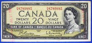 Canada 1954 - $ 20 - BC-41b - Beattie-Rasminsky - Est grade F-12 (with graffiti)