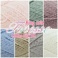 King Cole Finesse Cotton Silk DK Knitting/ Crochet 50g Ball