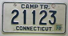 Connecticut 1970 CAMPING TRAILER License Plate NICE QUALITY # 21123
