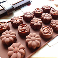 2X 15-Cavity Silicone Flower Rose Chocolate Cake Soap Mold Baking Ice Tray Mould