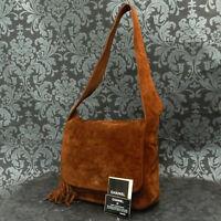 Rise-on Vintage CHANEL Suede Leather CC Logos Brown Fringe Shoulder Bag #2010
