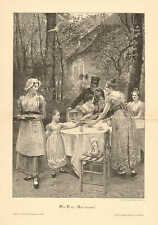 Picnic, Tea Party, Early Fashion, Those Old Days, Vintage 1894 Antique Art Print