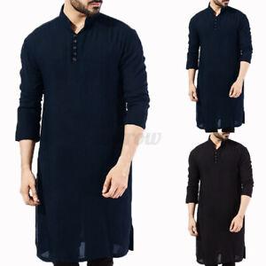 Mens Kurta Pakistan Pajama Indian 100% Cotton Ethnic Plain Long Sleeve Shirt Tee