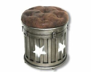 41cm Iron Round Star Style Ottoman Storage Stool With Faux Leather Lid FREE P+P