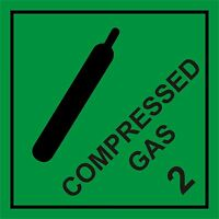 Compressed Gas hazard warning sign self adhesive 100mm x 100mm WATERPROOF