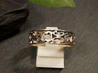 Toller 925 Silber Ring Muster Struktur Durchbruch Unisex Damen Herren Elegant