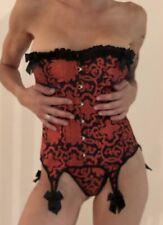 Corset Bustier Guêpières Porte Jarretelles Satin Noir + String Sexy  ♦ M ♥