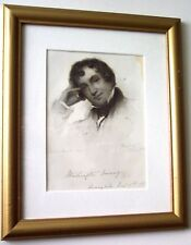 WASHINGTON IRVING 1850's Antique Engraving Framed
