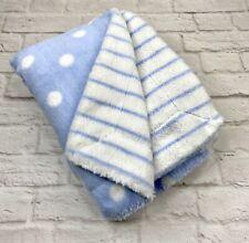 First Impressions Blue White Baby Blanket Stripe Polka Dot Reversible Plush