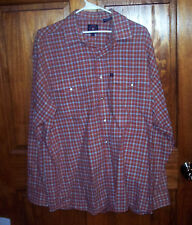 Men's Large Panhandle Slim Western Shirt Plaid Pearl Snaps LS GUC