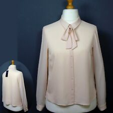 M&S Silky COLLARED, TIE-NECK BLOUSE ~ Size 16 ~ Pale Peach Pink