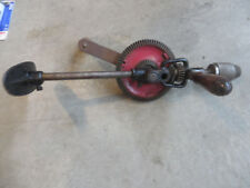 "17"" Vintage Manual Rotary Breast Drill Red Manual Drill Egg Beater Style USA"